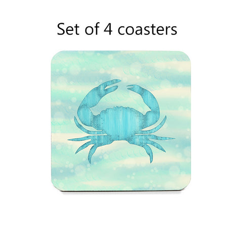 Blue Crab Nautical Coaster Set