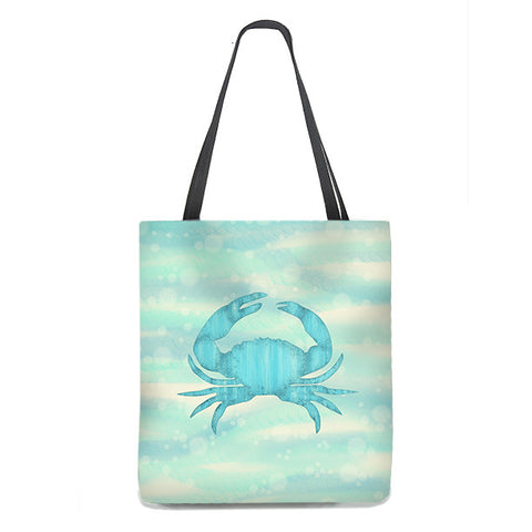 Blue Crab on bubbly sand and sea, Nautical Tote Bag