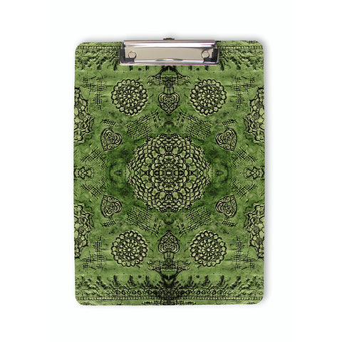 Bohemian Lace Print Clipboard in emerald green
