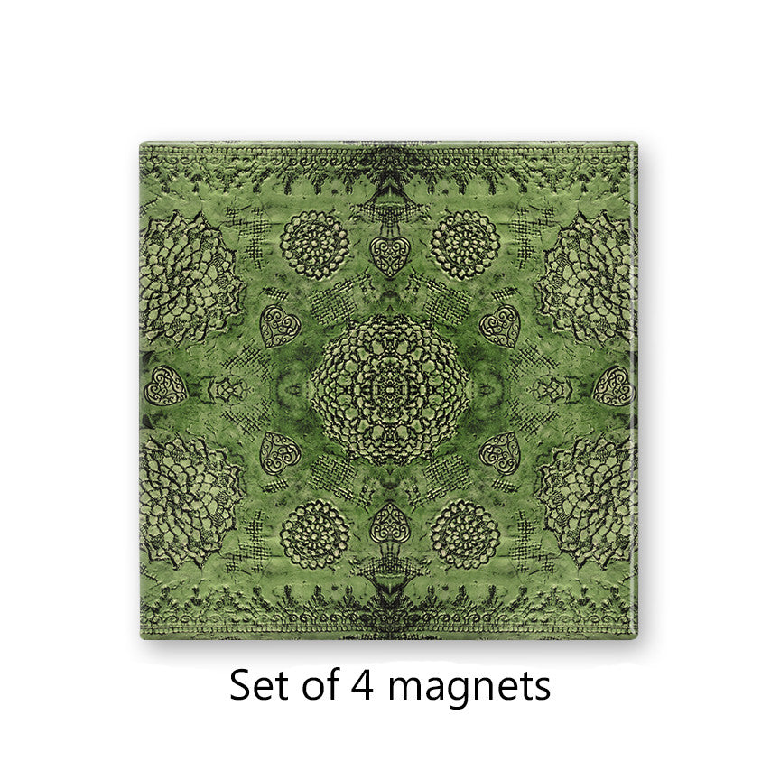 Bohemian Lace Print in Emerald Magnet Set