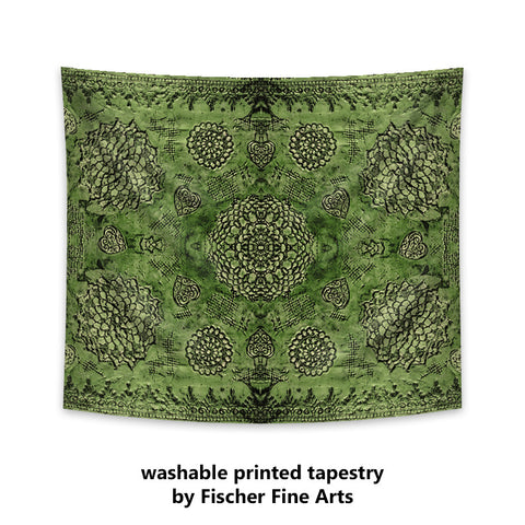 Bohemian Tapestry in emerald green print