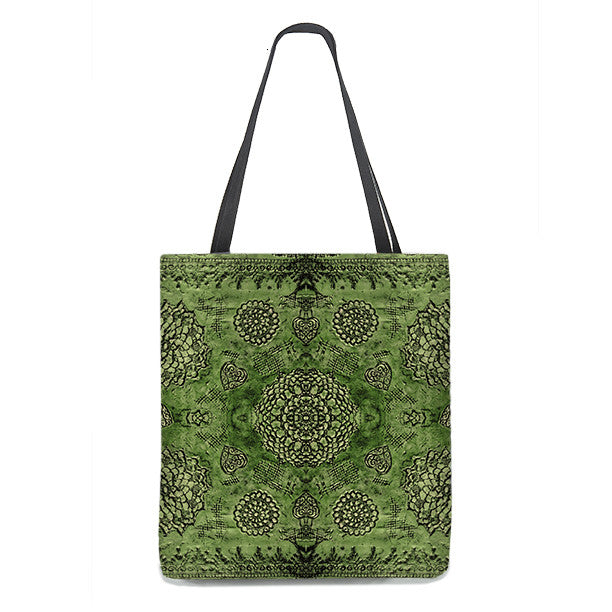 Bohemian Tote Bag in emerald green with floral lace pattern