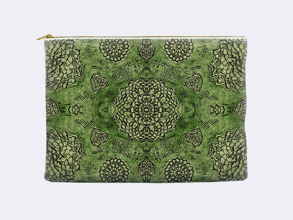 Bohemian Lace Print Zippered Pouch emerald green