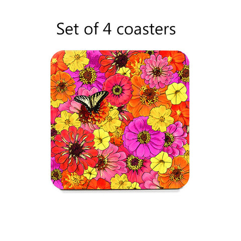 Butterfly and Flowers Coaster Set