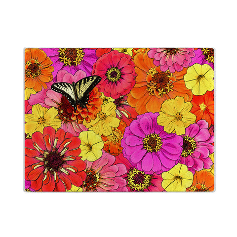 Colorful Floral Glass Cutting Board with butterfly