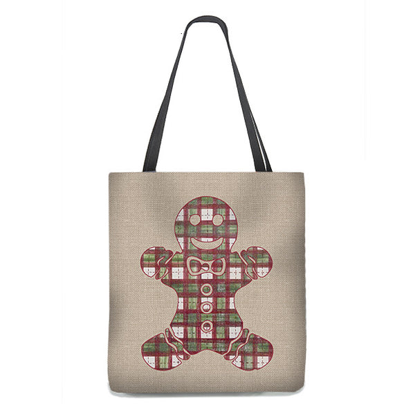 Gingerbread Man in Plaid Tote Bag on burlap background