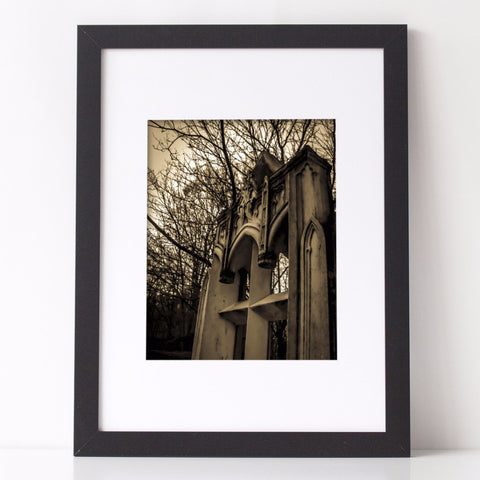 Gothic Arch Sepia Art Print, architectural photography by Charlee M Fischer