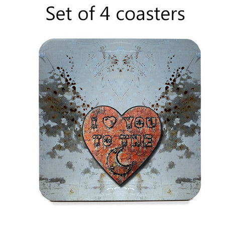 I love you to the Moon coasters