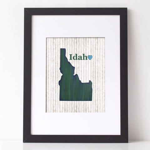 Idaho State Love Art Print, state cutout typography art with wood background