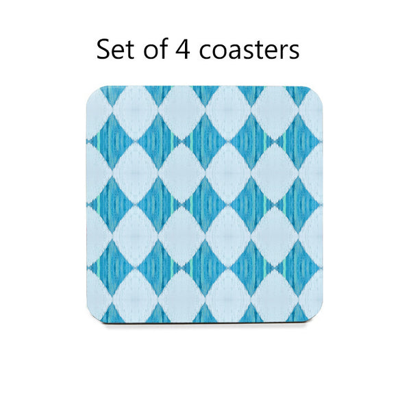 Ikat Style Diamonds Coaster Set in blue