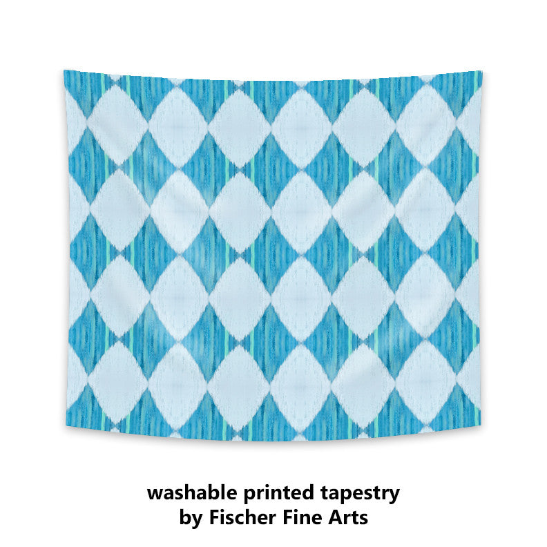 Ikat Style Wall Tapestry in blue