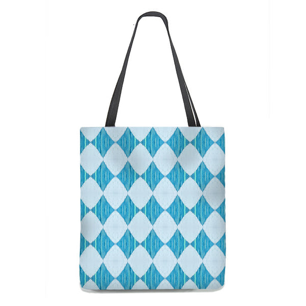 Ikat Style Tote Bag, harlequin pattern in ice blue and turquoise