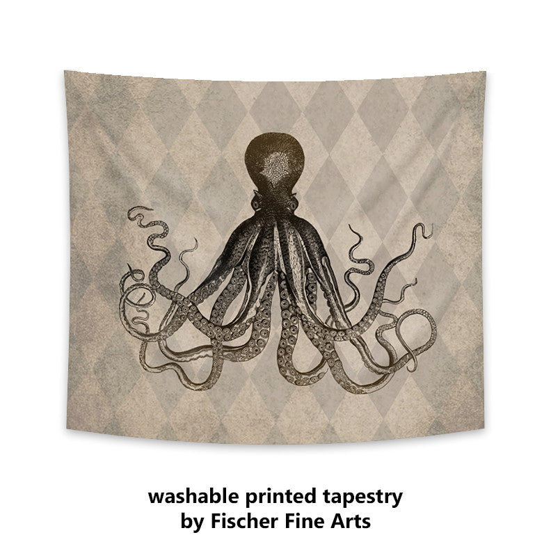 Rustic Octopus Wall Tapestry