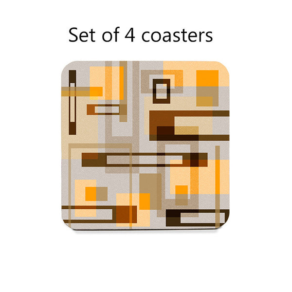 Mid Century Modern Blocks Coaster Set in 3 color schemes