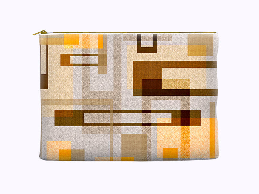 Abstract Geometric Art Zippered Pouch in tan