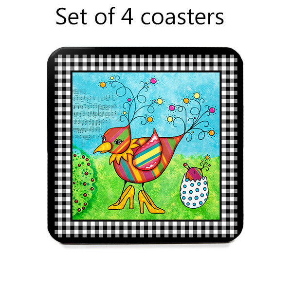 Whimsical Momma Bird Coasters, front view