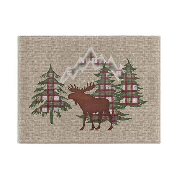 Moose in the Mountains Glass Cutting Board