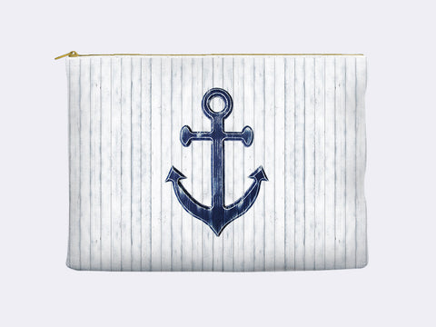 Navy Blue Anchor Zippered Pouch