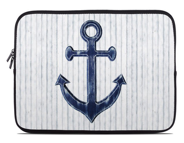 Blue Anchor on White Nautical Laptop Cover