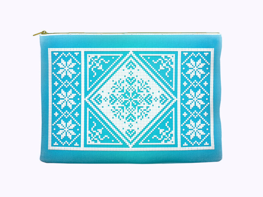 Nordic Christmas Zippered Pouch in aqua blue snowflake print