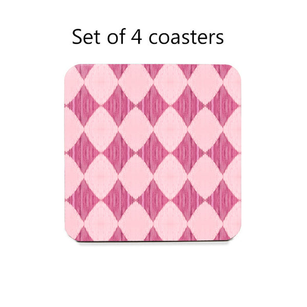Ikat Style Diamonds Coaster Set in pink