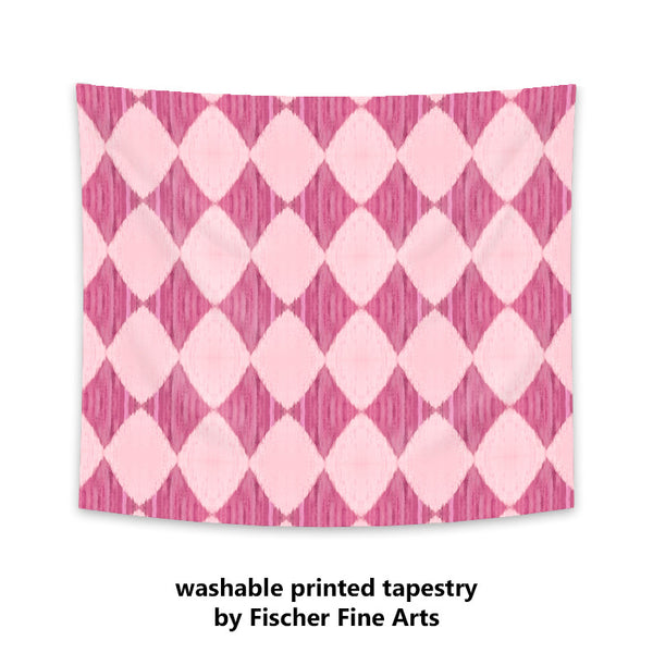 Ikat Style Wall Tapestry in pink