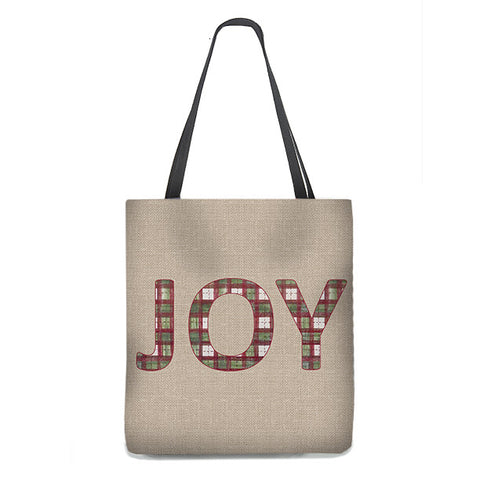 "Christmas ""JOY"" Tote Bag in green and red plaid"