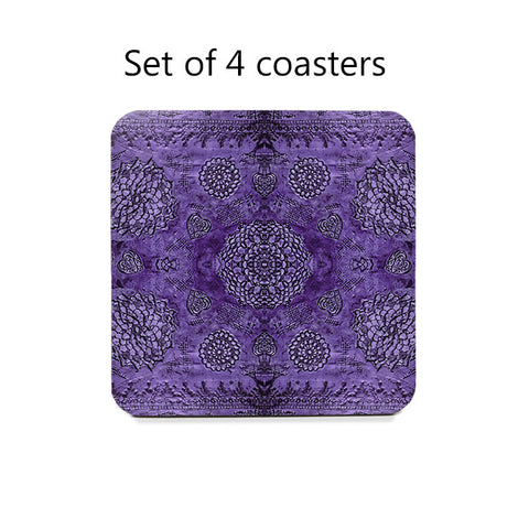 Bohemian Lace Pattern Coaster Set in assorted colors