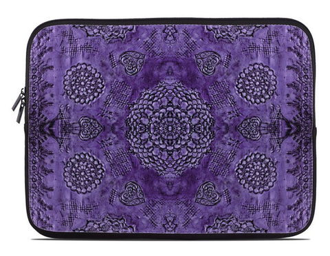 Bohemian Lace Print Laptop Cover in purple