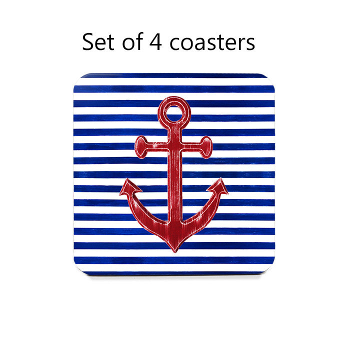 Nautical Coasters - Set of 4 red anchors on blue and white stripes