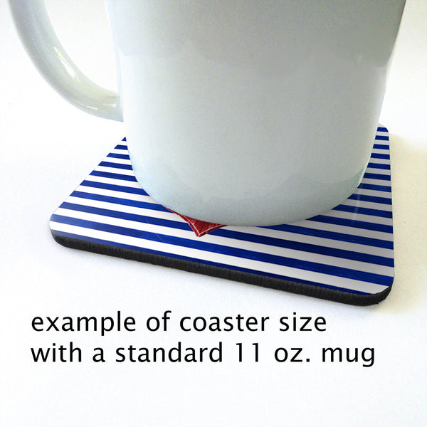 Nautical Coasters - Set of 4 red anchors on blue and white stripes 2
