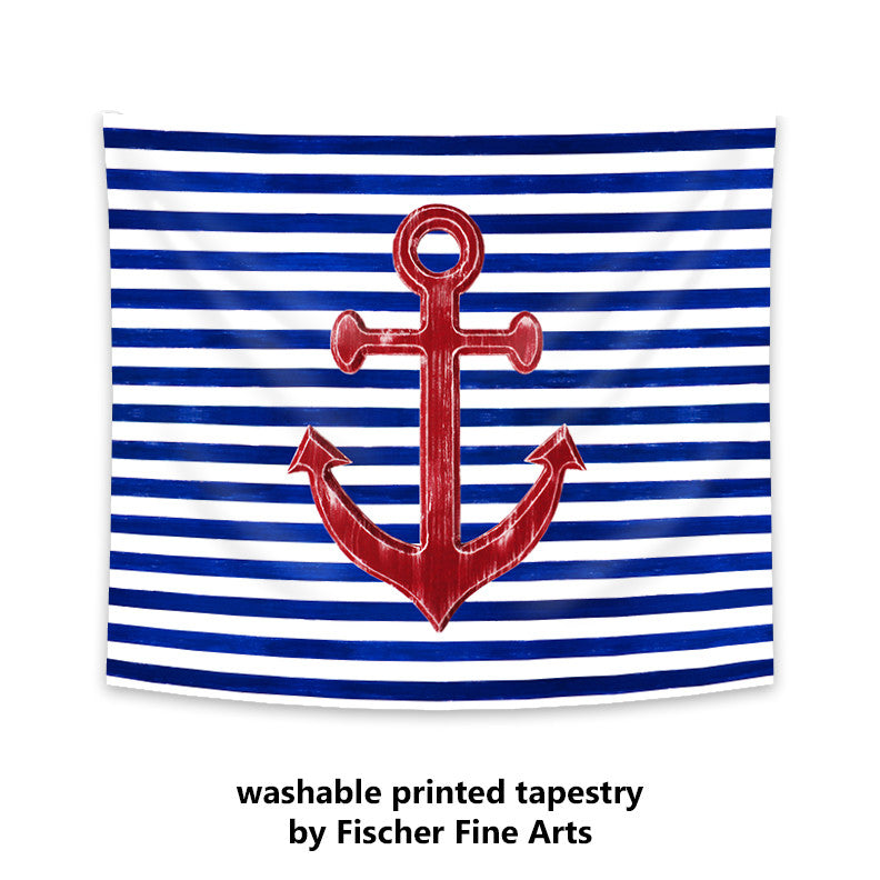 Wall Tapestry with Red Anchor on Blue and White Stripes