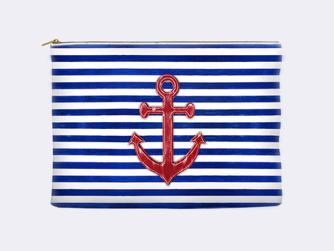 Nautical Cosmetic Bag - red anchor