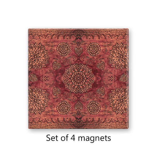Bohemian Lace Print in Red Magnet Set