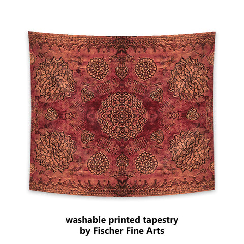 Bohemian Tapestry in marsala red print