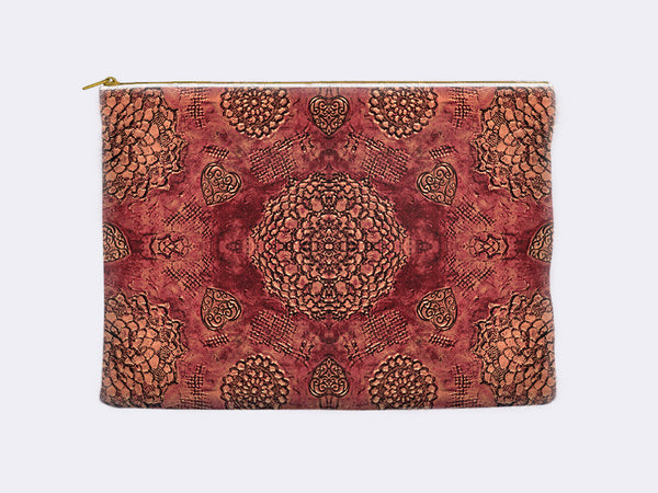Bohemian Lace Print Zippered Pouch marsala red