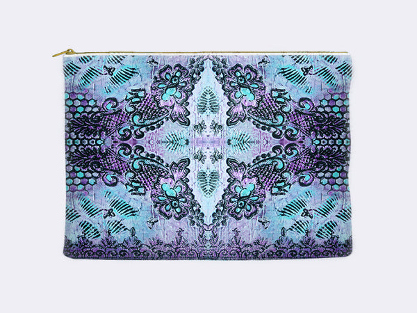 Butterflies and Roses Print Pencil Case in violet