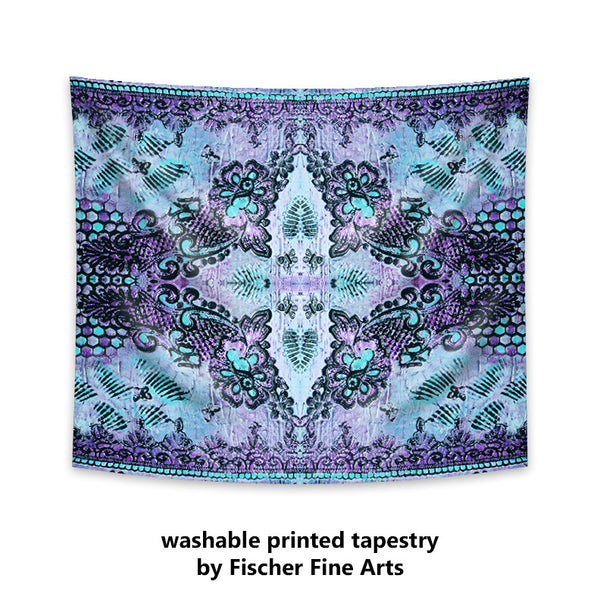 Bohemian Tapestry with roses and butterflies in violet
