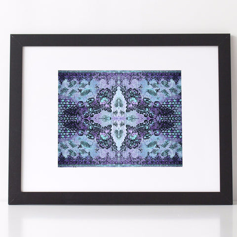 Bohemian Rose Lace Art Print in Violet and Blue