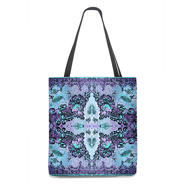 Bohemian Tote Bag with butterflies and roses in violet and aqua