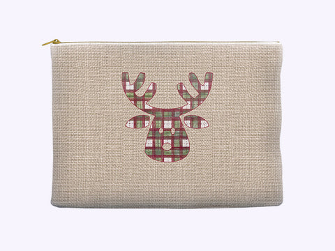 Cosmetic Bag - Rudolph the Reindeer in Holiday Plaid