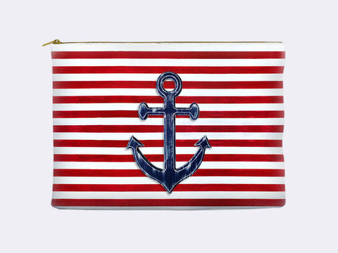 Nautical Pencil Pouch - navy anchor