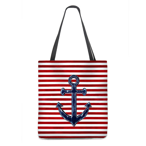 Tote Bag - Nautical Anchor in navy blue on red and white stripes