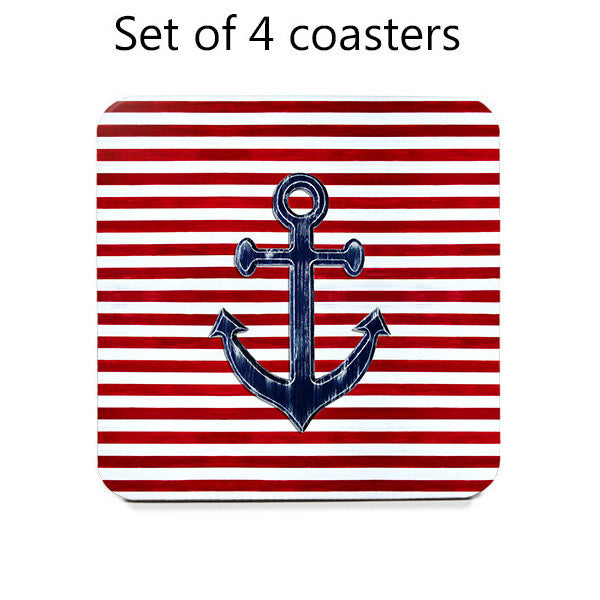 Nautical Coasters - Set of 4 navy blue anchors on red and white stripes
