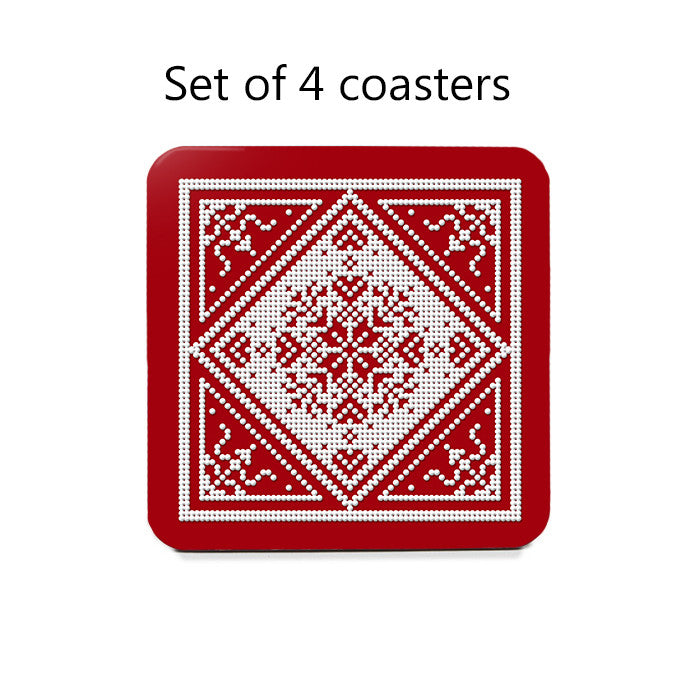 Scandinavian Snowflake Coaster Set in red