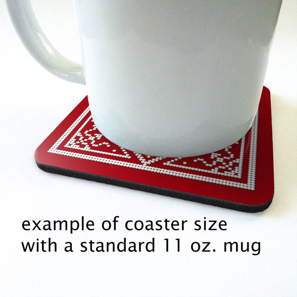 Scandinavian Snowflake Coaster Set in blue or red
