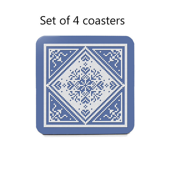Scandinavian Snowflake Coaster Set in blue