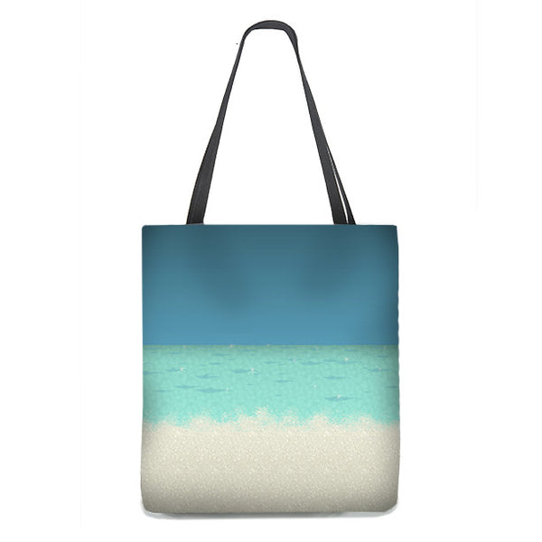 Color Block Tote Bag, Sea and Sand