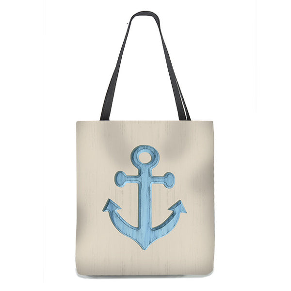 Tote Bag - Nautical Anchor in pale blue on sand colored background
