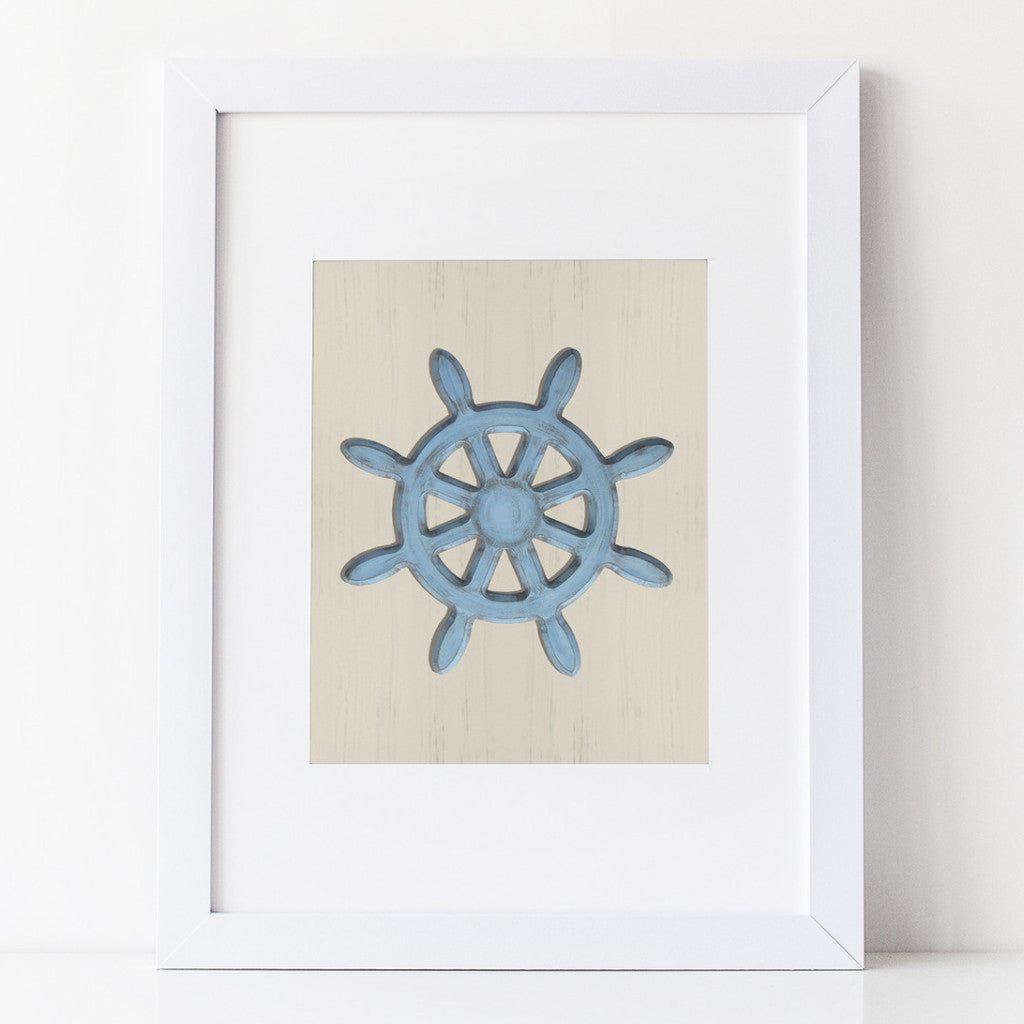 Nautical Art Print - Shabby Blue Ships Wheel on sand colored background